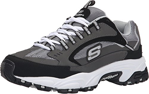 Skechers Men's Stamina Cutback Trainers, Grey (Charcoal Leather/Mesh/Red Trim Ccrd), 10 (45 EU)