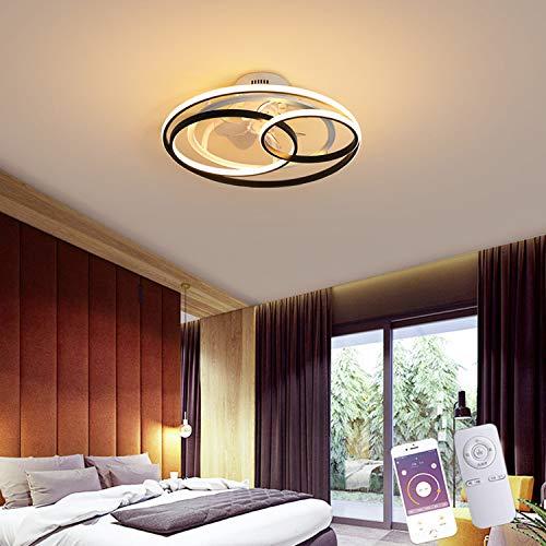 Ventilador De Techo LED Dormitorio Con Iluminación Y Control Remoto, Diseño De 2 Anillos Lámpara De Techo Sala De Estar 50W Regulable Y Control De APP Ventilador Plafón Habitación Infantil, Ø53CM