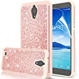 AT&T AXIA Case (QS5509A), AXIA Glitter Case with HD Screen Protector for Girls Women, LeYi Bling Dual Layer Hybrid Shockproof Phone Case for AT&T AXIA (Cricket Vision) 2018 TP Rose Gold