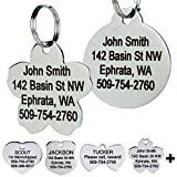 GoTags Stainless Steel Pet ID Tags, Personalized Dog Tags and Cat Tags, up to 8 Lines of Custom Text Engraved on Both Sides, in Bone, Round, Heart, Bow Tie, Flower, Star and More (Flower, Small)