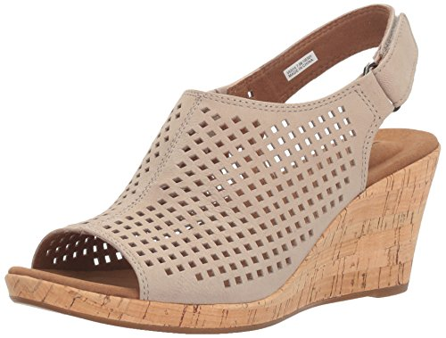 Rockport Women's Briah PERF Sling Wedge Sandal, Taupe Leather, 8 M US