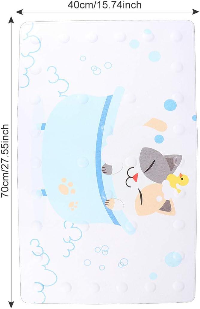 Healifty Non-Slip Bath Mat Cartoon Animal Bath Shower Mat with Suction Cup 40 x 70 cm Non-Slip Cushion Bathroom Floor Mat Cat Pattern