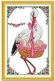 Lucsiky Kits de punto de cruz contados -Grulla de corona roja 14x17cm- Kit de bordado a mano con patrón de punto de cruz Diy Kit de bordado impreso Set decoración del hogar