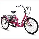 WANYE Triciclo para Adultos De 24'y 3 Ruedas con Lámpara para Bicicleta, Cesta De La Compra, Triciclo, Triciclo, Pedal, Bicicleta, para IR De Compras, Deportes De Picnic Red