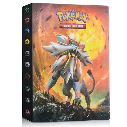 EKKONG Album Pokemon, Raccoglitore Carte Pokémon Porta Carte Pokemon Cards GX Ex Trainer Album 28 Pagine - può Contenere Fino a 224 Carte (Solgaleo)