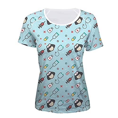 SLYZ Mujeres Europeas Y Americanas Estampado De Verano Casual Cuello Redondo Todo-fósforo Camiseta Femenina De Manga Corta Top