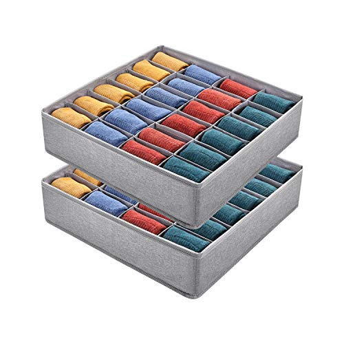 DIMJ 2 Pack Sock Underwear Drawer Organizer Divders, 24 Cell Foldable Cabinet Closet Organizers and Storage Box with Washable Fabric for Ties Panties, Grey