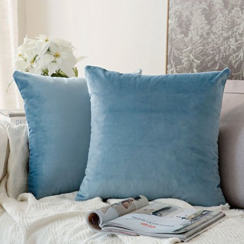 MIULEE Decorative Velvet Cushion Covers 45cm x 45cm/Square Throw Pillowcases for Sofa Bedroom with Invisible Zipper 18x18 Inch Light Blue Sets of Two