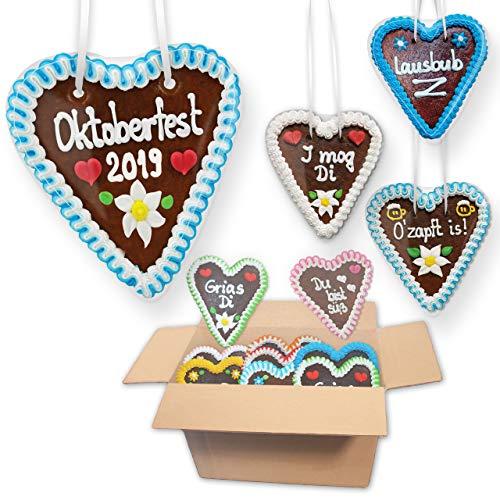 30x Lebkuchenherzen 16cm im Oktoberfest Mischkarton | verschiedene Farben & Sprüche | genau wie vom Jahrmarkt, Wiesn & Oktoberfest | ideale Party-Deko | mit Liebe gebacken von LEBKUCHEN MARKT