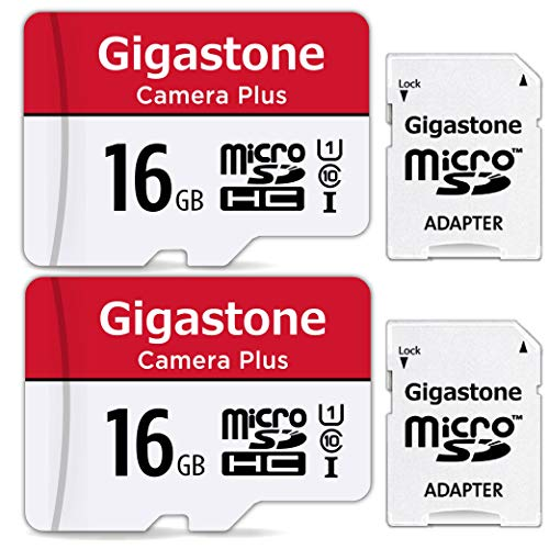 Gigastone 16 GB 2er-Pack Micro-SD-Karte, Kamera Plus 90 MB/s, Full HD-Video, Micro SDHC UHS-I-Speicherkarte U1 C10 Klasse 10, mit MicroSD-zu-SD-Adapter