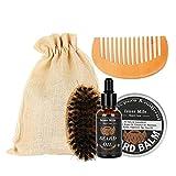 Kit de cuidado de barba de hombres kit de aseo de barba cepillo de barba, peine de barba y bálsamo de barba natural conjunto de regalo herramienta de aseo de limpieza para suavizar y acondicionar bigo