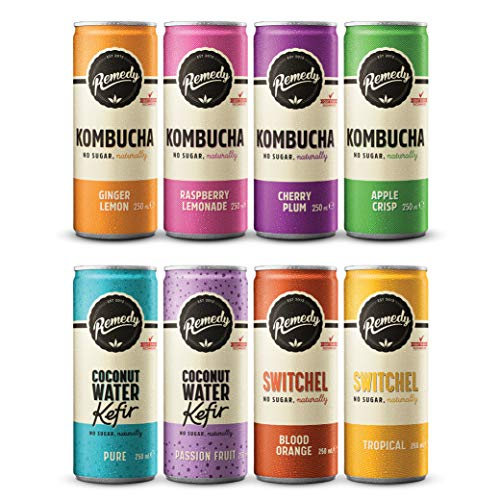 Remedy Raw Kombucha Tea, Kefir and Switchel Mixed Case - Sparkling Live Cultured Drinks - 24x250 Milliliter Can Case