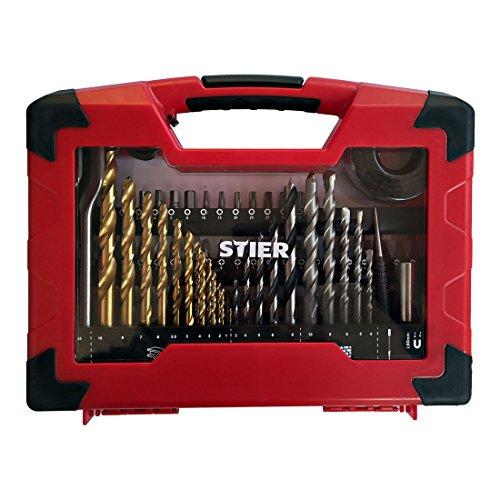 STIER TiN-Bohrer-, Säge- und Bit-Set, 100-teilig, Titaniumnitrid, für eine Vielzahl an Bearbeitungsfällen in Holz, Metall und Stein