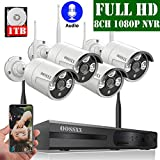 【2020 Update】 OOSSXX 8-Channel HD 1080P Wireless Security Camera System,4Pcs 1080P 2.0 Megapixel Wireless Indoor/Outdoor IR Bullet IP Cameras with One-Way Audio,P2P,App, HDMI Cord & 1TB HDD