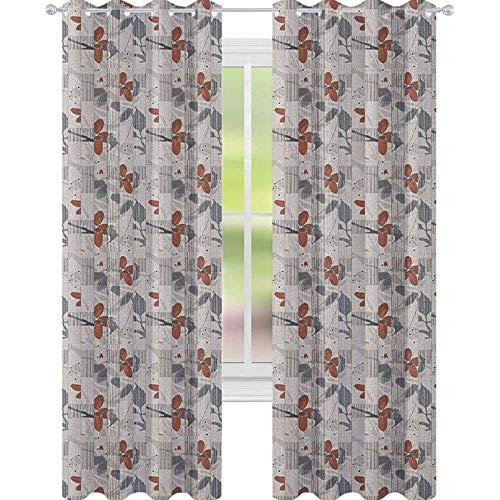 YUAZHOQI Cortinas abstractas opacas con líneas verticales, diseño floral y flores románticas para la estación de la primavera, para sala de estar, 132 x 241 cm, color gris pardo oscuro rubí