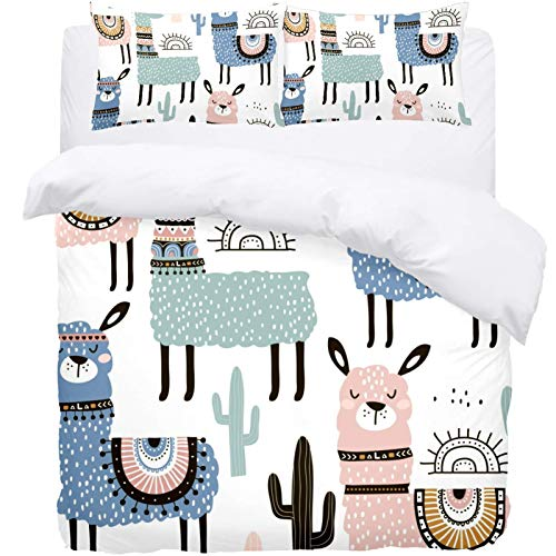 TIZORAX Queen Bedding Duvet Cover Set -Cute Llama And Cactus 3 Piece Microfiber Comforter Set Quilt Cover and 2 Pillow Shams for Men Women
