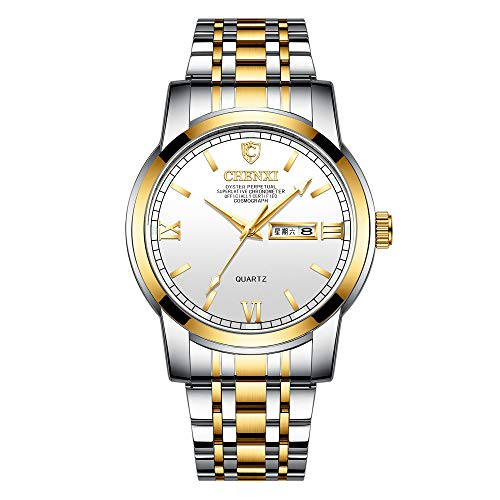 Relojde Hombre Relojde Doble Calendario Relojluminoso de Cuarzo Resistente al Agua de Acero Inoxidable Relojde Negocios para Hombre
