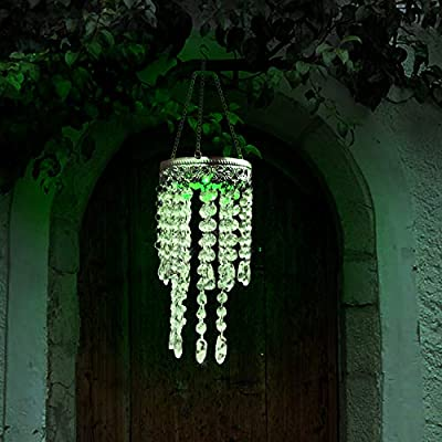 GetSet2Save and Ct Discount Store Chandelier Crystal Clear Wind Chimes Outdoor Decor (Chandelier Solar Multicolor Clear Crystal Wind Chimes)