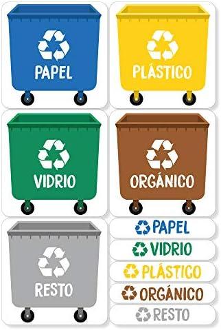 Resistentes al Agua. Pegatinas para la gesti/ón de residuos XL Haberdashery Online 5 Etiquetas Adhesivas para Reciclaje Basura