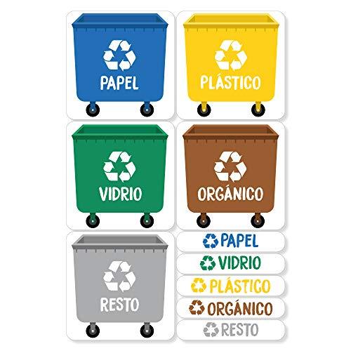 Haberdashery Online 5 Etiquetas Adhesivas para Reciclaje Basura. Pegatinas para la gestión de residuos. Cada una de 4,8 x 4,8 cm. Resistentes al Agua. Modelo XS