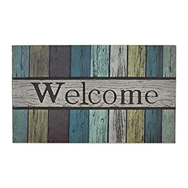 J&M Home Fashions Non-Slip Outdoor/Indoor Printed Flocked Welcome Doormat, 18x30 , Heavy Duty Entry Way Shoes Scraper Patio Rug Dirt Debris Mud Trapper Waterproof-Painted Fence