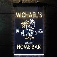 Coronas Extra Parrot Bird Palm Tree パーソナライズされたマイホームバーの装飾 Decor LED看板 ネオンサイン バーライト 電飾 ビールバー 広告用標識 白色 + 黄色 W30cm x H40cm