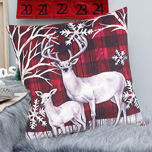 AMhomely Christmas Decorations Sale, Christmas home decoration cotton linen pillow cover sofa waist cushion cover Merry Christmas Decorative Xmas Decor Ornaments Party Decor Gift