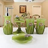 JynXos Bathroom Accessory Sets Green Water Lotus Accessories Bathroom 5pcs Modern Soap Holder