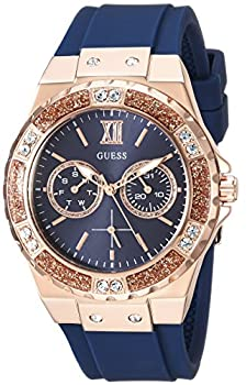 GUESS Women Stainless Steel Japanese Quartz Watch with Silicone Strap Blue 20  Model  U1053L1