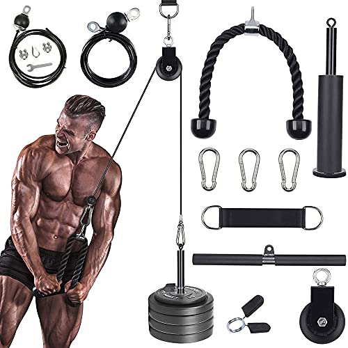 DORUIMI LAT Sistema de Polea de Arrastre Y Levantamiento de Peso, Cable de Máquina de Polea para Tríceps Bíceps Espalda Antebrazo Hombro Equipo de Gimnasio en Casa