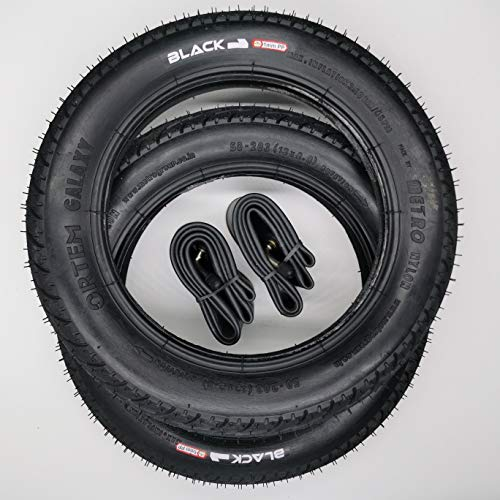 Black1 2x12 Zoll Galaxy Reifen mit abgewinkelten AV Schläuche | | Zoll/Maß: 12 x 2.0 | ETRTO 50-203 Decke Mantel Fahrrad Buggy Kinder Roller Anhänger