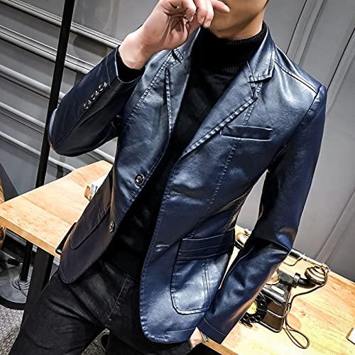 FBYYJK Herren Lederjacke - Retro Classic Herren Pu Lederjacke Fashion Slim Fit Lederkombi Herren Business Casual Lederjacke Mäntel Stehkragen,Blau,XXXL(Eu XL)
