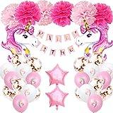 Decoración de globos de cumpleaños de unicornio niña,Conjunto de banner de feliz cumpleaños de Aivatoba con globos de unicornio rosa, pompones para fiesta de cumpleaños