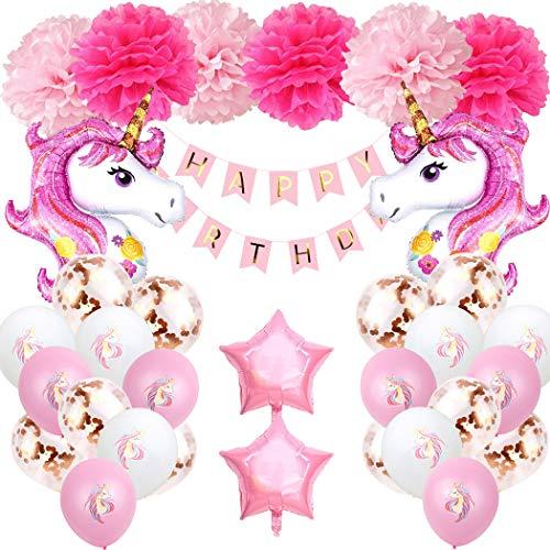 Einhorn Geburtstagsdeko Mädchen 1 Jahr, Aivatoba Happy Birthday Girlande Ballons Geburtstag...