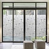 Privacidad opaca no adhesiva cubierta de ventana esmerilada película pegatinas electrostáticas pegatinas de ventana de vidrio lámina impermeable hibisco baño decoración del hogar película A65 40x100cm