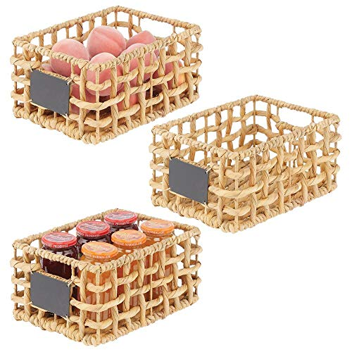 mDesign Set of 3 Wicker Storage Boxes — Small Wicker Baskets for Household Storage and Organisation — Versatile and Compact Storage Baskets — Natural
