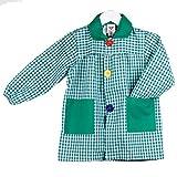KLOTTZ - Babi cuadros guardería Bata escolar con botones y amplio colorido. Protección ropa en comedores y manulidades en casa. Niñas color: VERDE talla: 3