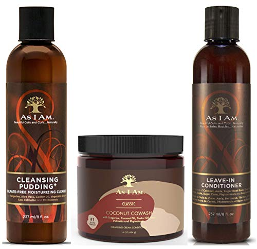 As I Am Cleansing Pudding 237ml, Coconut CoWash 454g y Leave in Conditioner 237ml