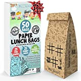 NIL-Tech: Paper Lunch Bags 50 Pcs - Gift Your Kids a Smile, Printed Fun Games and Jokes on Each Brown Sandwich Bags. Eco Friendly For Lunch and Snack.
