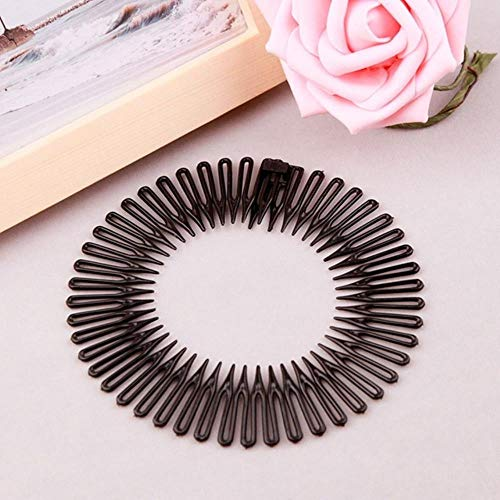 1pc plastique Full Circle diamant extensible dents de peigne souples Couvre-chef Bandeau Headwrap,A