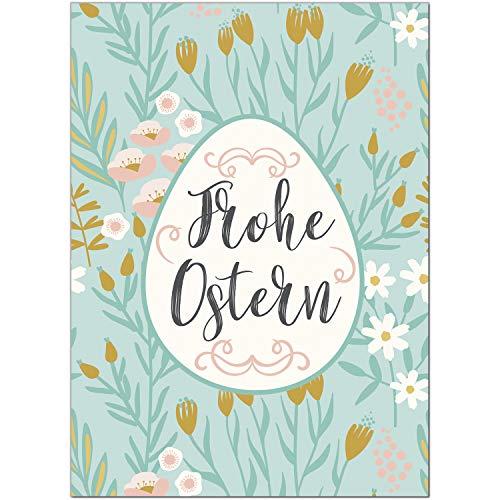 15 x Postkarten zu Ostern mit Umschlägen im Set/Osterkarten modern Frohe Ostern mit Osterei/Osterpostkarten