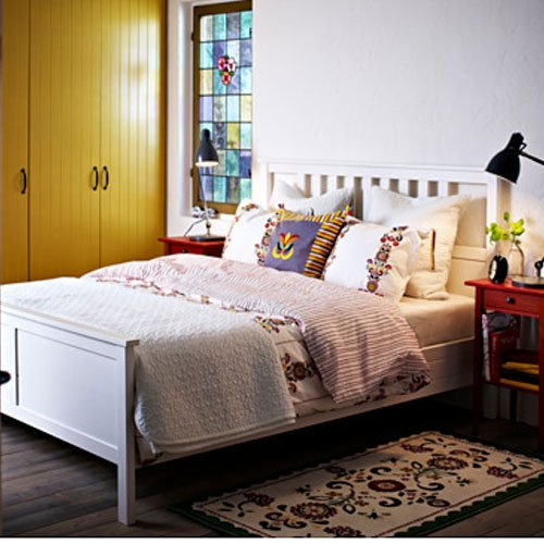 Ikea Hemnes Queen Bed Frame White Wood