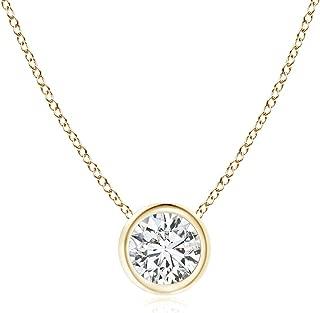 Bezel-Set Round Diamond Solitaire Pendant (4.1mm Diamond)
