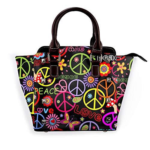 LalaQ Damen Umhängetasche mit Rosenmotiv, hochwertig, elegant, Echtleder, Nieten, Schwarz - Mehrere Symbole - Größe: Einheitsgröße