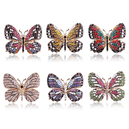 Unigift 6PCS Fashion Crystal Butterfly Brooch, Multi-Color Rhinestone Crystal Brooches Pins, Cute Animal Shape Corsages Brooches for Women Decoration