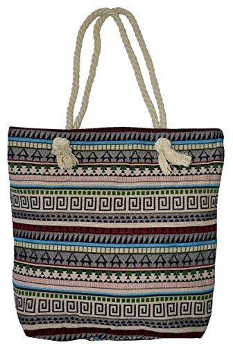 Shopper Strandtasche mit Ethno Muster Henkel Kordel Seil Reißverschluss Innentasche Schultertasche Bag Tasche Tragetasche Damen (Model-2#)