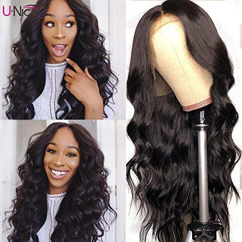 UNice 13x6 Body Wave Lace Front Human Hair Wigs Free Part Unprocessed Brazilian Virgin Hair Wig Pre Plucked with Baby Hair 150% Density (18'')