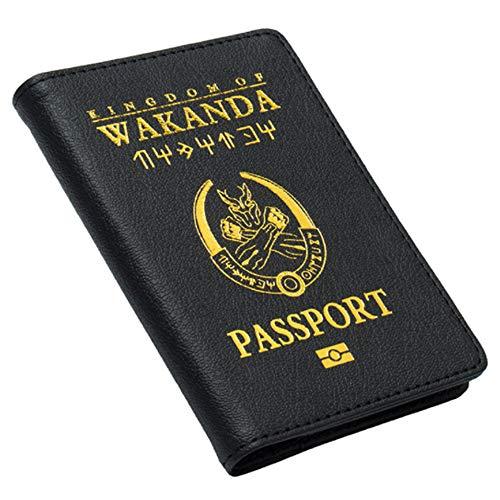 """Reisepasshülle mit Aufdruck """"Kingdom of Wakanda"""" aus Kunstleder, mit Kartenschlitzen und Ticketschlitzen"""