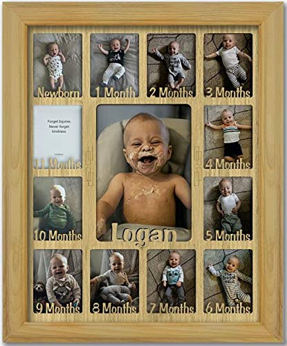 """Northland Baby First Year Personalized Frame - Holds Twelve (12) 2.5"""" x 3.5"""" Newborn Nursery Decor Photos and 5"""" x 7"""" One Year Picture, Oak Frame, Oak Mat, Customizable Name - 11x14"""