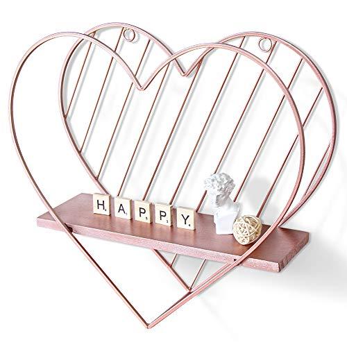 Afuly Estantes flotantes de oro rosa montado en la pared, diseño de corazón de metal pequeño estante de almacenamiento dormitorio
